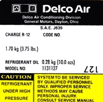 1979 Camaro Air Conditioning Compressor Decal, Delco 1131127