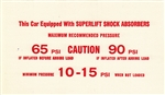 1975 - 1978 Instruction Information Card, Super Lift Air Shock