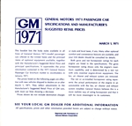 1971 Book, Retail Prices, All GM Cars