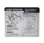 1967 - 1968 Instruction Information Decal, Trunk Jack, Space Saver, Coupe, 3919192