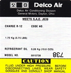 1981 - 1982 Decal, AC Compressor, Delco