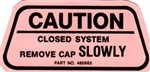 1970 Camaro Fuel Gas Cap Caution Decal, For California Models