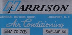1970 Camaro Air Conditioning Evaporator Box, Harrison Decal