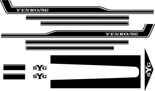 A Set Of Four Quarter Stickers In Black and White
