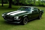 1970 - 1972 Camaro Z28 Stencil Stripe with Rally Sport and Tall Rear Spoiler, Straight Rear