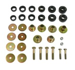 1967 - 1981 Camaro Black Polyurethane Body Mount Bushing Set with Steel Sleeves, Hardware Included