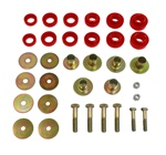 1967 - 1981 Camaro Body Mount Bushing Set, Red Polyurethane with Steel Sleeves, Hardware Included