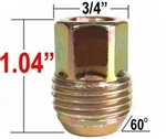 1982 - 2002 Camaro Wheel Lug Nut - Gold Cadium Plated - OE Style, GM 12mm 1.50 Type Lug Nut with External Threads