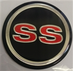 "Center Cap Decal, Black with Red SS and Silver Ring, 1-3/4"" Each"