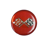 Center Cap Decal Decal, Red with Crossed Flags, 1 3/4 Inches, Each