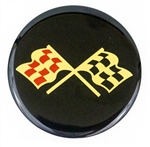 Center Cap Decal Decal, Crossed Flag, 2 1/4 Inches, Each