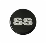 Center Cap Decal Decal, Black with Silver SS, 2 1/8 Inches, Each