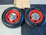Chevy Rally Wheels with Firestone F70-15 Wide Oval Tires, Pair