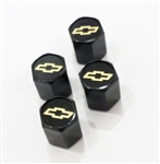 Air Valve Stem Caps with GOLD Bowtie, Set of 4