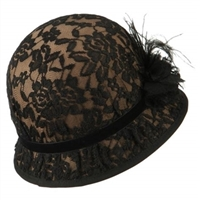 7ce36698bbfd4 Jeanne Simmons - Brown Black Lace Cloche