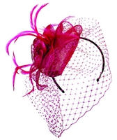 Jeanne Simmons- Tear Drop Sinamay Fascinator w/ Veil