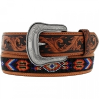Tony Lama - Pueblo Tan & Black Beaded Belt