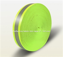 REFLECTIVE SEW ON TAPE YELLOW-SILVER-YELLOW FABRIC TRIM 100m/50 mm