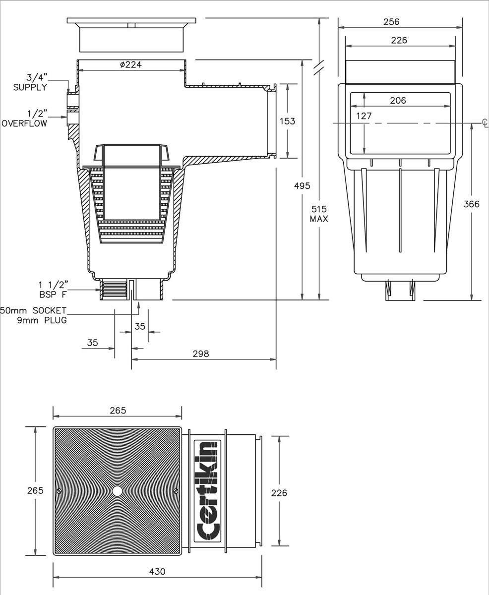 Certikin Skimmer Collar Weir With Liner Adaptor Kit