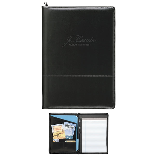 16-136 Script Zippered Padfolio