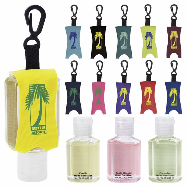 16-22C 1 oz. Hand Sanitizer with Leash - Scented