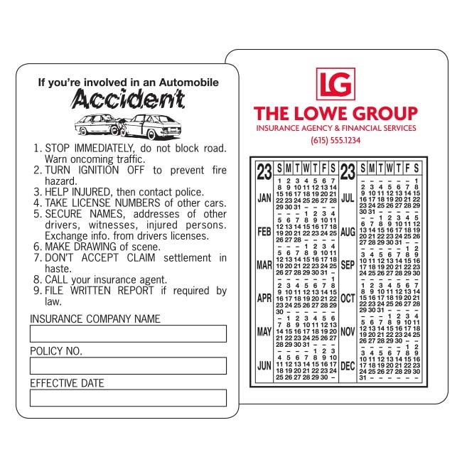 59-153 Accident Report Information/Calendar Card