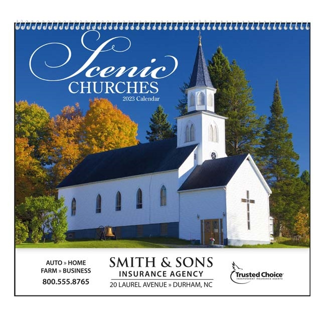 61-845 Scenic Churches Wall Calendar