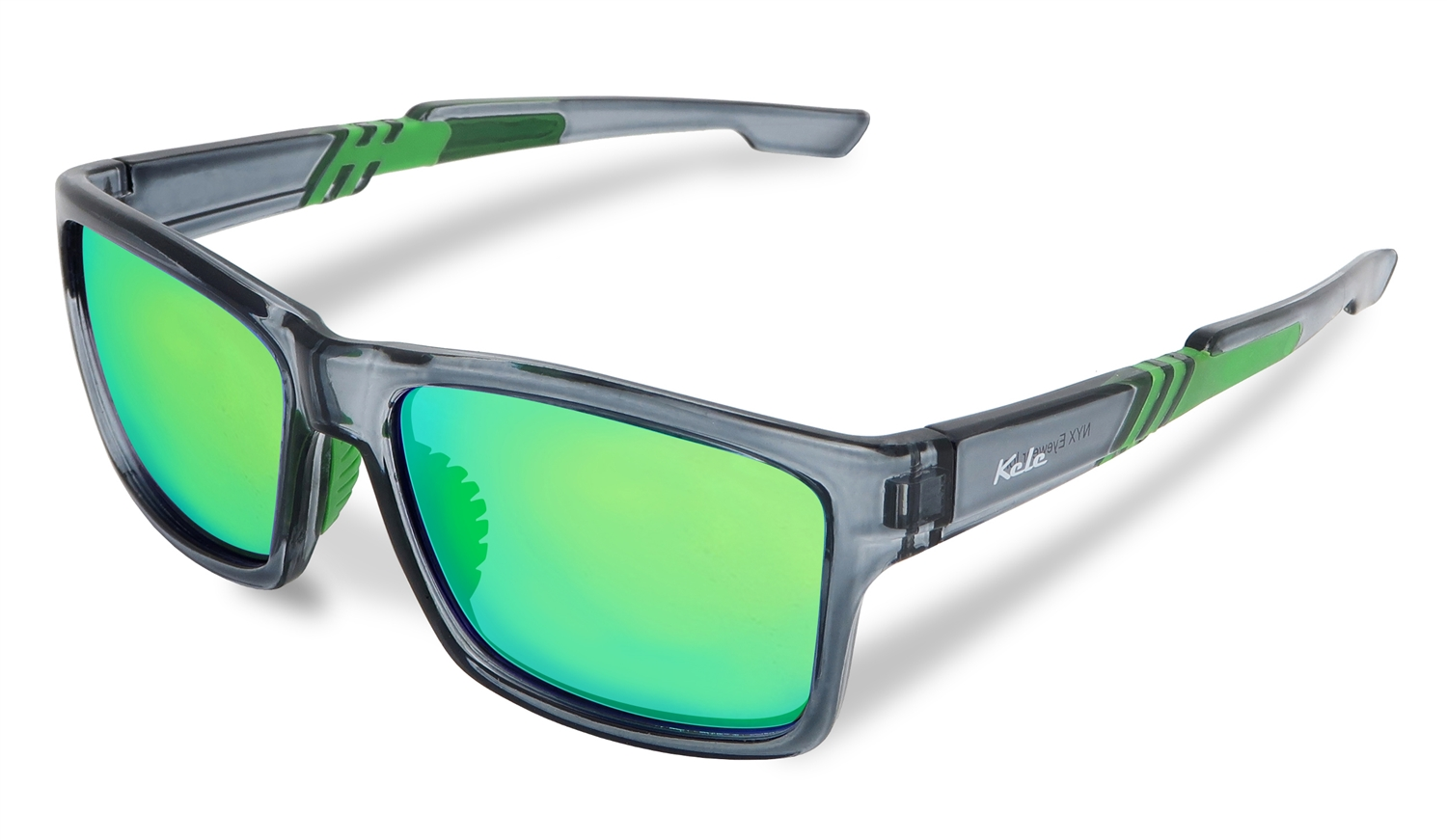 Kele Crystal and Ice Green Sunglasses