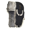 Supplex Bomber Black with Gray Rabbit Fur