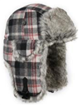 Black/Grey Plaid Wool Bomber with Grey Wabbit Faux Fur