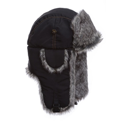 Black Supplex w/ Grey Wabbit Faux Fur Mad Bomber