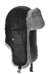 Black Leather Bomber with Grey Fur - Small