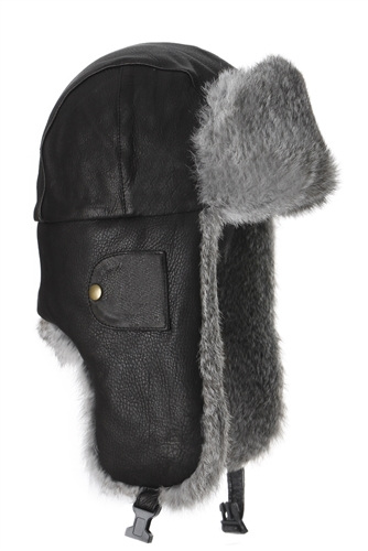 Black Leather Bomber with Grey Fur a31263ebcd6