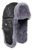 Black Leather with Grey REX Fur