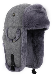 Grey REX FUR Bomber with Grey Wool Outer