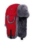 M  only - Grey REX FUR Bomber with Maroon  Wool Outer