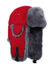M and L only - Grey REX FUR Bomber with Red Wool Outer