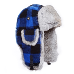 Blue Plaid Wool Mad Bomber with Grey Rabbit Fur