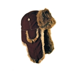 Chocolate Supplex Mad Bomber hat with Brown Rabbit Fur