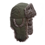 Olive Supplex Mad Bomber with Faux Fur