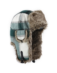 S and M only - Green Plaid Wool w/ Brown Faux Fur