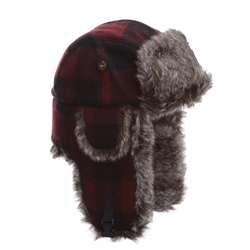 Mad Bomber Maroon Wool Bomber w/Brown Faux Fur