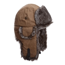 Khaki Waxed Cotton w/ Brown Wabbit Faux Fur by Mad Bomber