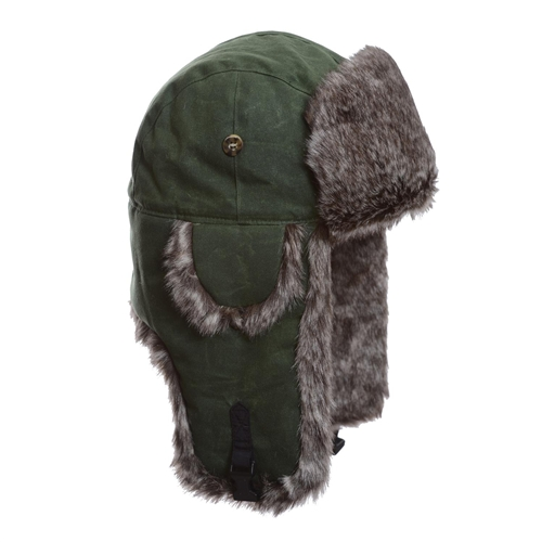 4dab0e42f Moss Green Cotton w  Brown Wabbit Faux Fur by Mad Bomber