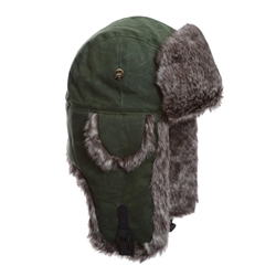 Moss Green Cotton w/ Brown Wabbit Faux Fur by Mad Bomber