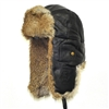 Leather Bomber Black with Brown Rabbit Fur