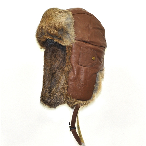 0719531c931b6 Leather Bomber Hickory with Brown Rabbit Fur