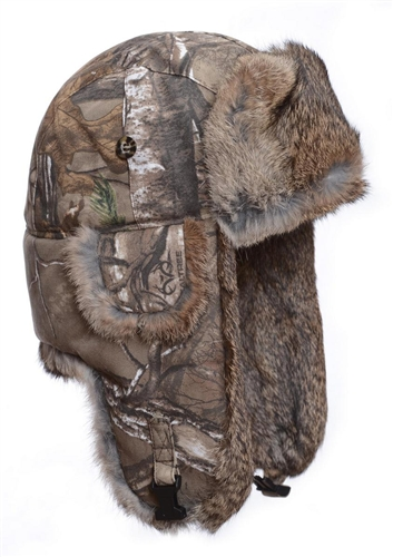 ad0fbc28a4d05 Bomber with Brown Rabbit Fur - Realtree Camo