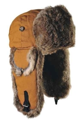 Canvas Mad Bomber Brown with Brown Rabbit Fur