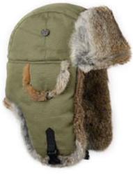 Olive Canvas Mad Bomber with Brown Rabbit Fur
